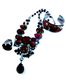 Funky Jewellery Ruby Mesh Gem Set
