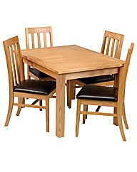 Solid Ash Fliptop Dining Set 4 Chairs