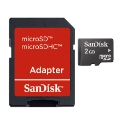 Sandisk 2GB Micro SD Card and Adaptor