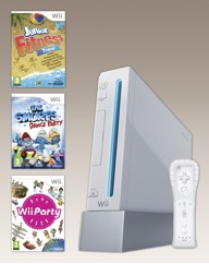 Wii Console White + Wii Party + 2 Games