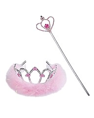 Think Pink Feather & Flower Tiara & Wand