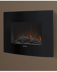 Black Curved Glass Wall Electric Fire