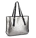 Metallic Mock-Croc Shopper