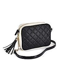 Monochrome Quilted Cross Body Bag