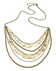 Multiple Chain Long Disc Necklace