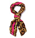 Animal Print Scarf With Neon Trim