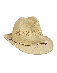 Shell Trim Trilby Straw Hat