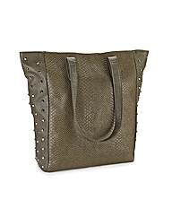 Snake Effect Embellished Shopper Bag