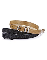 Pk 2 Skinny Animal Print Belts