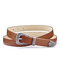 Western Plate Skinny Waist Belt