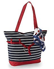 Stripe Bag With Scarf