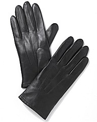 Soft Leather Gloves with Ruche Detail