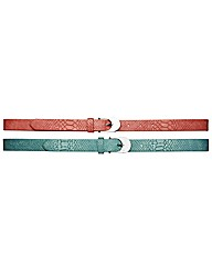 Pack of 2 Snake Print Belts