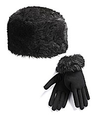 Fur Hat And Glove Set