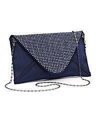 Mock Suede Stud Detail Clutch