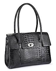 Leather Alligator Effect Handbag