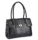 Leather Alligator Effect Handbag