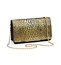 Metallic Snake Print Clutch Bag