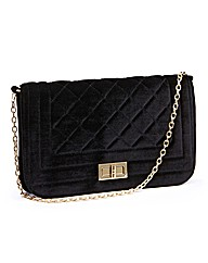 Velvet Quilted Clutch Bag