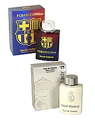 Barcelona & Real Madrid 100ml EDT BOGOF