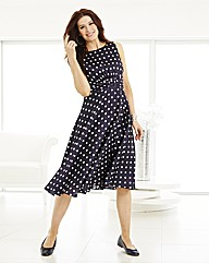 Spot Dress With Belt Detail To Front L43