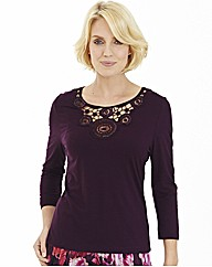 Jersey Top With Lace & Beads