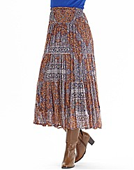 Nightingales Print Chiffon Tiered Skirt