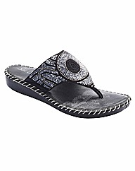 Sole Diva Beaded Toe-Post Sandals EEE