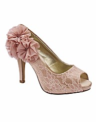 Simply Be Lace Peep Toe Shoes EEE Fit