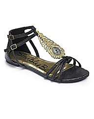Simply Be Diamante Trim Sandal - EEE Fit