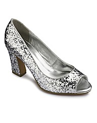 Simply Be Glitter Flarred Heel E Fit