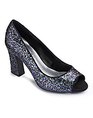 Simply Be Glitter Flarred Heel EEE Fit