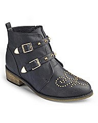 Simply Be Strappy Studded Boot EEE Fit