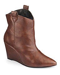 Simply Be Cowboy Wedge Boots EEE Fit