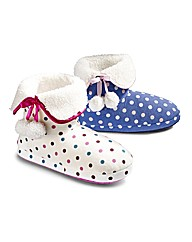 Simply Be Spotty Bootie Slippers
