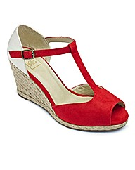 Sole Diva T-Bar Espadrille Wedge EEE Fit