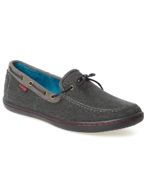 Monkfish Black Canvas Deck Boat Shoe