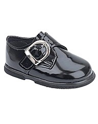 Early Days Boys Black Patent Buckle Shoe