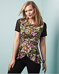 edit Printed Peplum Top