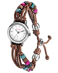 Kahuna Brown Bead Tie Watch