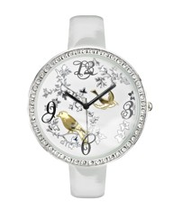 Glitzy Flora and Fauna White Strap Watch