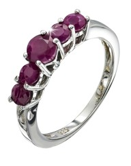 Sterling Silver Five Stone Ruby Ring