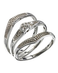 Sterling Silver Diamond Accent Ring Set