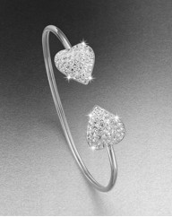 Sterling Silver & Crystal Heart Bangle