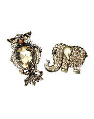 Elephant & Owl Brooch Set