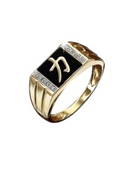 9 Carat Gold Onyx & Diamond Set Ring