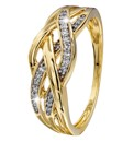 Elements 9 Carat Gold Diamond Twist Ring