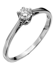 9 Carat White Gold 1/4ct Solitaire Ring