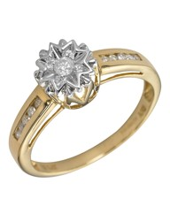 9 Carat Gold Illusion-Set Diamond Ring