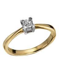9 Carat Gold Princess-Cut Diamond Ring